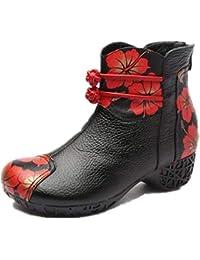 Fuxitoggo Botas de Cuero de Las Mujeres con Estampado de Flores Zapatos de Cremallera Bloque (Color : Negro,…