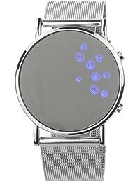 PIXNOR Mujeres niñas ronda espejo cara azul LED Digital reloj (plata)