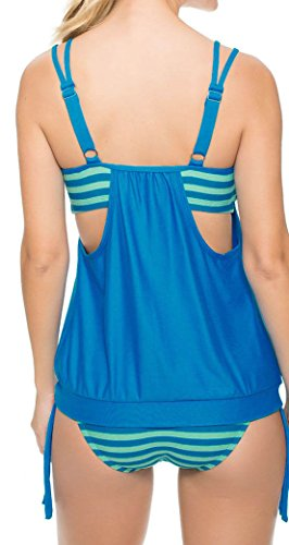 DoubleYI Damen Bikini Set Streifen zweiteilig Badeanzug Swimsuit Bademode Strand Bikini Oberteile + Höschen Blau