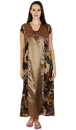Cattywoocasual manches courtes maxi de nuit robe de nuit longue robe des femmes Marron