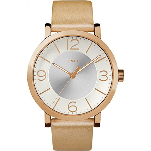 Timex Main Street Damen-Armbanduhr 42mm Armband Leder Gold Quarz TW2R11600 (Band Rim Gold)