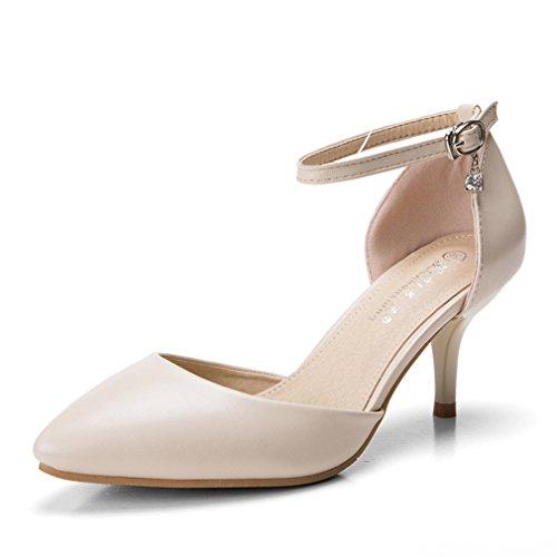 Xianshu Damen Strass Gürtelschnalle Ankle Strap High Heel Spitze Schuhe Pumps(Apricot-40)