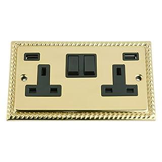 A5 Products USB Socket 2 Gang - Polished Brass Georgian Black Insert Plastic Rocker Switch (3100mA)