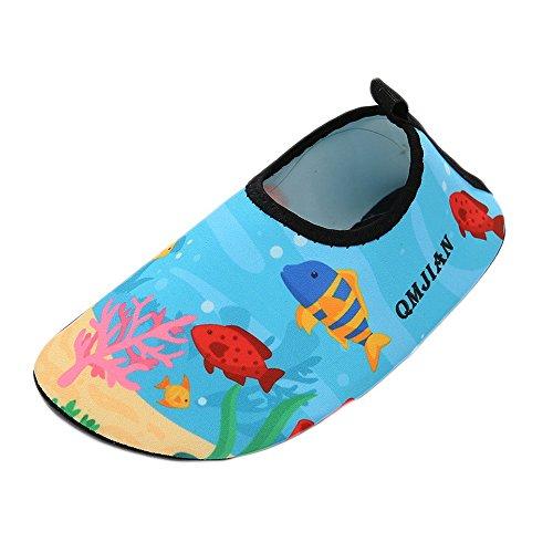 Aelegant Kinder Cartoon Aufdruck Strandschuhe Aquaschuhe Schwimmschuhe Badeschuhe Wasserschuhe Surfschuhe mit Rutschfeste Sohlen für Jungen Mädchen (Rutschfeste Schuhe Kinder)