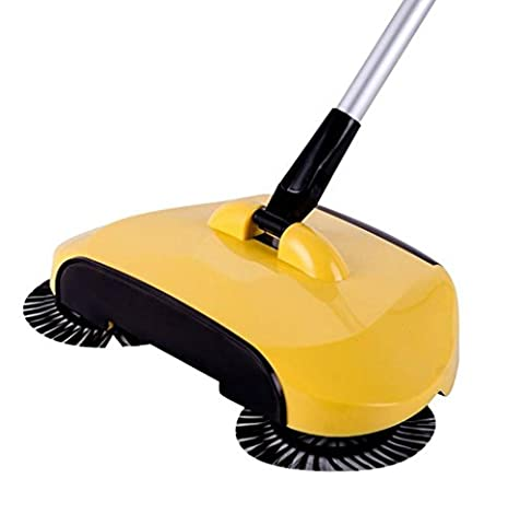 Mingfa.y Amazing New Upgrade Automatic Hand Push Sweeper Broom Floor Cleaner 360 Rotary Telescopic Carpet Sweepers (yellow)