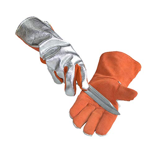 feuerfestes silikon 1000 grad QETY Isolierte Handschuhe, 35 cm 500 Grad Hochtemperatur Beständig Feuerfeste Fünf Finger Wärme Strahlungs Handschuhe