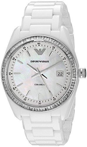 Emporio Armani New AR1497 da donna in titanio e ceramica, colore bianco con perle di cristallo-Orologio da polso - Perle Di Titanio