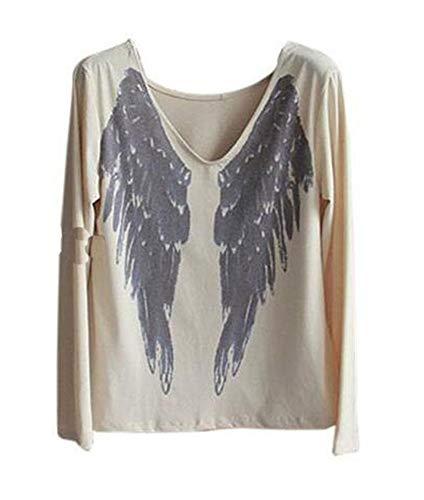 Keephen Womens Angel Wings Camiseta Estampada De Manga Larga Delante Y Trasera...