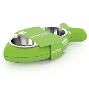 Hing Designs The Fish Bowl with Non Slip Rubber Feet and Dishwasher Safe Removable Stainless Steel Bowls, Green