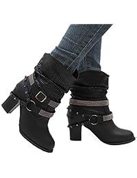 530233093ad6 Stiefeletten Damen mit Absatz Chelsea Boots Leder Kurzschaft Stiefel  Blockabsatz 8Cm Elegant Schuhe Schwarz Grau Beige