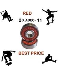 Velocidad Pro rojo Abec 11cojinetes de rueda para skareboarding Stunt Scooter–Monopatín Inline Roller Derby patines 975, dorado, 16