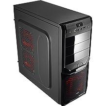Aerocool V3XADBK - Caja gaming para PC (ATX, semitorre, incluye ventilador frontal 12 cm y trasero 8 cm, hasta 4 ventiladores, LED roja, 7 slots de expansión, USB 2.0/3.0, audio HD), color negro