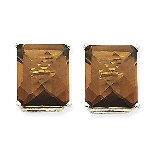 14kW 12x10mm Emerald Smoky Quartz Orecchini