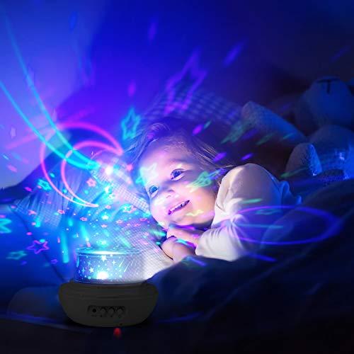 Baby Nachtlicht 360° Rotierend Sternenprojektor mit 3 Projektionslampe Kappen und 8 Modi Licht,  Perfekt für Kinderzimmer Geschenk - Sternenprojektor, Sternenhimmel, Rotierend, Projektor, Projektionslampe, Perfekt, nachtlicht baby, Nachtlicht, Modi, Licht, Lampe, Kinderzimmer, Kappen, Homealexa, Geschenk, Baby