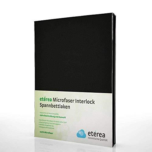 #4 Etérea Classic Microfaser Interlock Kinder-Spannbettlaken, Spannbetttuch, Bettlaken, 5 Farben, 60x120 - 70x140 cm, Schwarz
