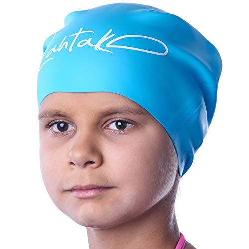Badekappe Kinder Lange Haare - Badekappe für Mädchen Jungen Kids Teens mit langem lockigem Haar Zöpfe Dreadlocks - 100% Silikon hypoallergene wasserdichte Badehaube (Aqua Blaue M) (Silikon-badekappen Kinder)