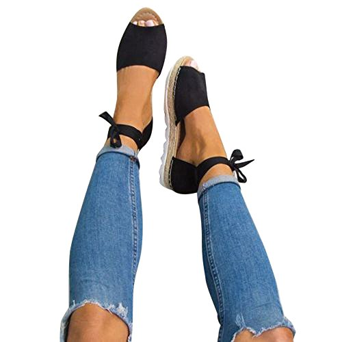 Sandalen Damen Kolylong® Sommer Sandaletten Plateau Offene Bohemia Espadrille Knöchelriemchen Flach Sommersandalen Riemchen Elegant Schuhe Lace Up (Schwarz, CN:41)