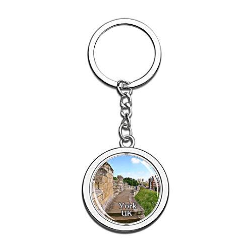 York York Stadtmauern UK England Schlüsselbund 3D Kristall Kreative Spinning Runde Edelstahl Schlüsselbund Travel City Souvenir Collection Schlüsselanhänger Ring (In Halloween York)