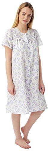 Damen Poly Baumwolle Kurzarm Nachthemd Nachthemd mit Knopfleiste MN12 LILAC SPRIG