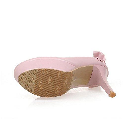 VogueZone009 Femme Rond Tire Pu Cuir Mosaïque à Talon Haut Chaussures Légeres Rose