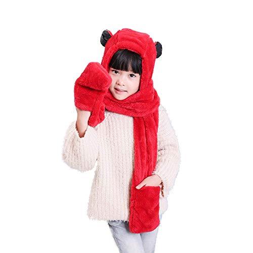 Y-WEIFENG Abwechslungsreiche Tierhüte Handschuhe Schal 3 in 1 Set - Kostüm Hood Toy Schal (Farbe : A) (Kälte Kostüm Frauen)