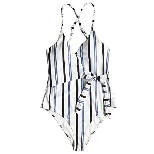 HULKY Damen Bauchweg Bikini Set Sportliche Swimwear Monokini Push-Up Gepolsterter BH Beach Bikini Set Badeanzug Sexy Streifen Bademode(Weiß 3,M)