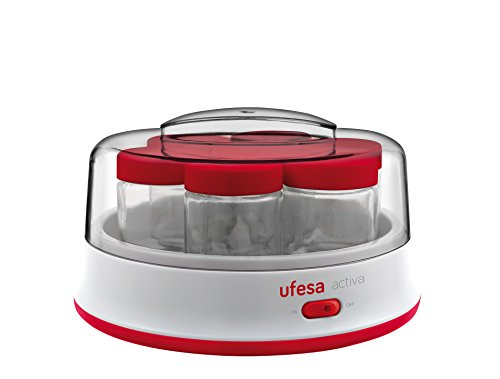 Ufesa YG3000 - Yogurtera Electrica, color blanco y rojo