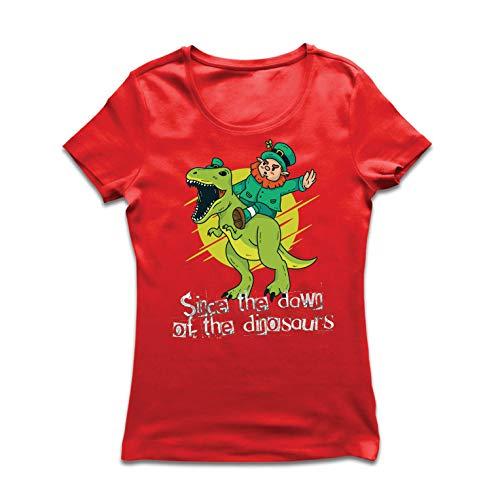lepni.me Frauen T-Shirt Irisch, st. Patricks Tag - erforschen Sie die Dinosaurier (Medium Rot Mehrfarben) -