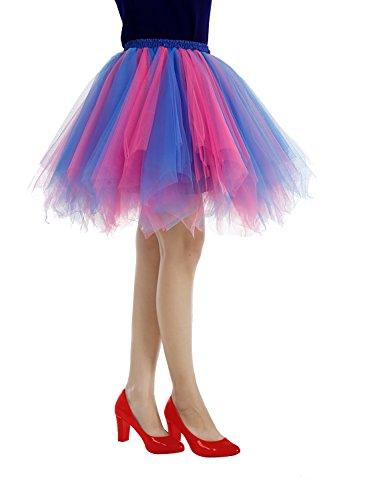 Bridesmay Tutu Damenrock Tüllrock 50er Kurz Ballet Tanzkleid Unterkleid Cosplay Crinoline Petticoat für Rockabilly Kleid Royal blue-Fuchsia