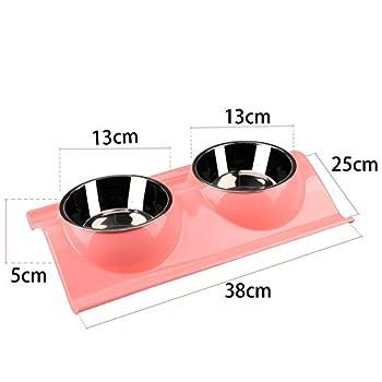 Chien bols, double Gamelles pour animal domestique en acier inoxydable No-skid sans bavure Nourriture pour animaux Distributeur d'eau pour chien, chat