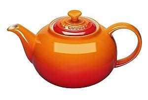 Le Creuset Klassische Teekanne, Rund, 1,3 Liter, Steinzeug, Ofenrot