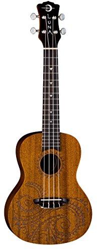 Luna Guitars Konzertukulele mit lasergraviertem Tattoodesign, inkl.