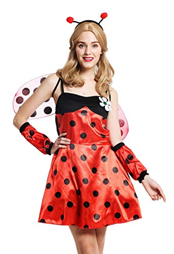 (dressmeup W-0058-M/L Kostüm Damen Frauen Marienkäfer Ladybug Flotter Käfer rot schwarz Punkte Gr. M/L)