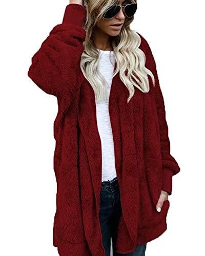 Petite-leggings Wolle (Adogirl Damen Fleece-Strickjacke mit Kapuze und Taschen, flauschig - Rot - XXXXX-Large)