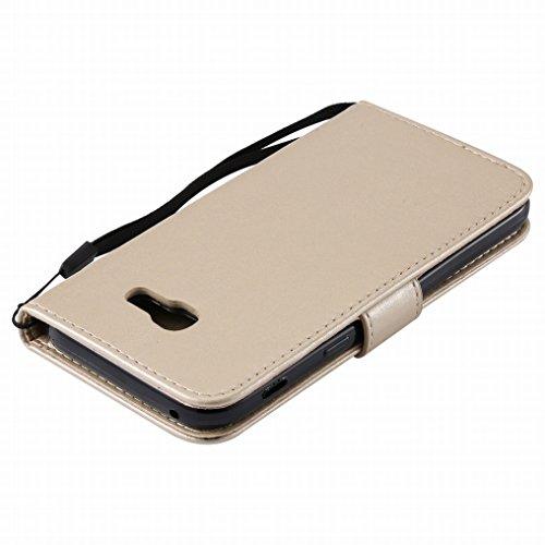 Custodia Samsung Galaxy A5 (2017) Cover, Ougger Alberi Gatto Printing Portafoglio PU Pelle Magnetico Morbido Silicone Flip Bumper Protettivo Gomma Shell Borsa Custodie con Slot per Schede (Blu) Oro