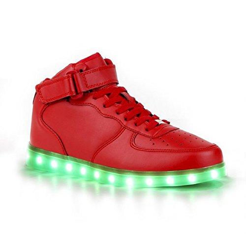 7 Farbe USB Aufladen LED Leuchtend Sport Schuhe Sportschuhe Sneaker Turnschuhe für Unisex-Erwachsene Herren Damen Kinder Rot