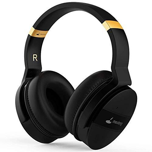 Meidong Duale Aktive Noise Cancelling Kopfhörer Bluetooth, Noise Cancelling Headphone overear Kabellose Kopfhörer mit Mikrofon HiFi Stereo Deep Bass Gemütlich Earpads bis zu 20 Std [Schwarz] - 2