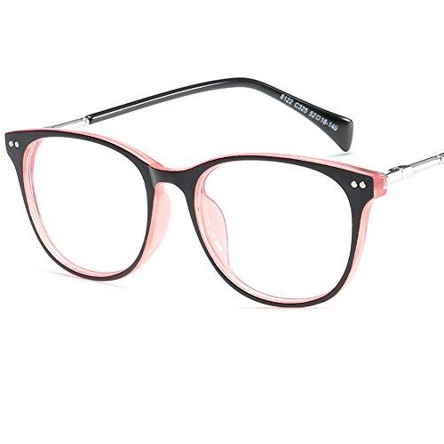 LANOMI Retro Nerdbrille Brillenfassung Hornbrille Runde Brille Ohne Stärke mit Brillenetui (schwarz...