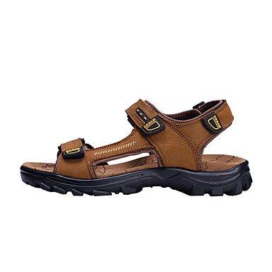 Estilo clásico Casual de verano para hombres sandalias planas zapatos de tacón de cuero auténtico de alta calidad Sandbeach Slip-on Zapatos Zapatos de Vestir para /Outdoor-Casual US8.5-9 / EU41 / UK7.5-8 / CN42