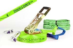6 Teiliges Neon Slackline-Set LEUCHTGRÜN - 50mm breit, 15m lang - mit Langhebelratsche