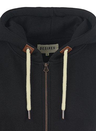 DESIRES Vicky Straight-Zip Damen Lange Sweatjacke Kapuzenjacke Sweatshirtjacke Mit Kapuze Und Fleece-Innenseite, Größe:S, Farbe:Black (9000) - 5