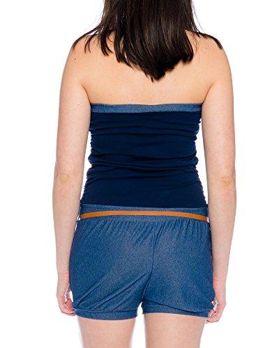 Kendindza Damen Kurz Overall Playsuit Jumpsuit Shorts Einteiler Gemustert Uni Dunkelblau