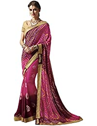 EthnicJunction Women's Georgette Bandhani Zari Lace Border Saree With Blouse(Pink French Raspberry ,EJ1173-5281)