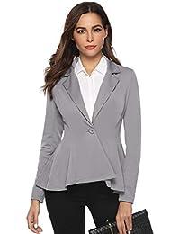 720c997e033b Aibrou Veste De Costume Femme Blazer à Manches Longues Slim Fit Veste de  Tailleur Bouton Élégant