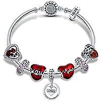 JGDF 925 Sterling Silver Romantic Heart Love MOM para Siempre Colgante Madre Regalo Pulseras Brazaletes para Las Mujeres Joyería de Plata