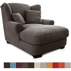 Cavadore XXL-Sessel / Dunkelgrauer Polstersessel mit Massivholzfüßen, großer Sitzfläche, Polsterung und 2 weichen Zierkissen / 120x99x145 (BxHxT)