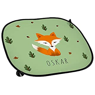 Auto-Sonnenschutz mit Namen Oskar und schönem Motiv mit Aquarell-Fuchs für Jungen | Auto-Blendschutz | Sonnenblende | Sichtschutz