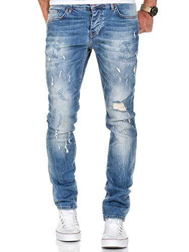 Amaci&Sons Herren Strech Destroyed Slim Fit Denim Jeans Hose 7500 Hellblau W31/L32 Slim Fit Denim-hose