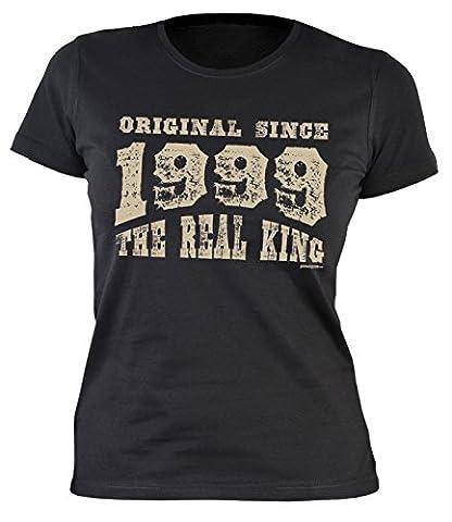 Mädchen T-Shirt zum 18 Geburtstag Damen T-Shirt Original since 1999 Real King Geschenk zum 18. Geburtstag 18 Jahre Geburtstagsgeschenk Frauen Geschenk