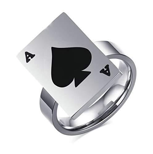 SonMo 925 Ring Vintage Herren Hochzeit Ringe Paar Eine Spielkarte Ring Herren Daumen Silber Schwarz 21Mm Eheringe Silber Schwarz für Männer 60 (19.1)